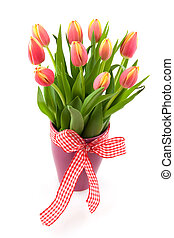 Tulip flowers in vase - Cheerful vase with bouquet tulips...