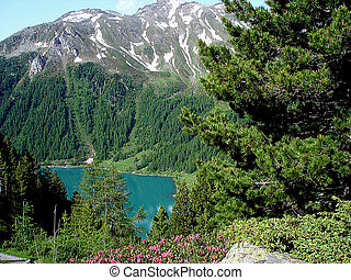 View on a dam lake in South Tyrol