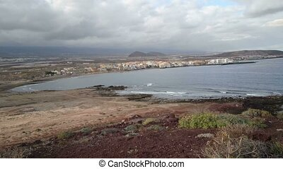 Small town facing the sea in southern Tenerife, Canary...