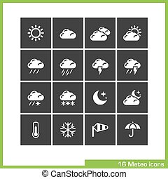 Meteo icon set Vector black pictograms for web, computer and...