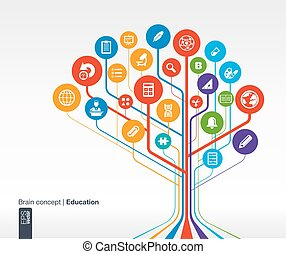 Abstract education background with lines and circles. . Brain concept