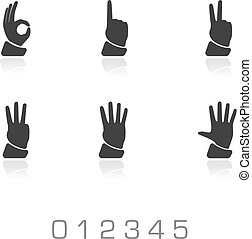 numbers vector hands set on white background. Black...
