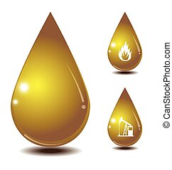 oil drop isolate on white back ground and icon