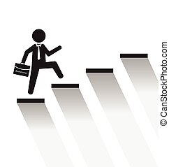 Business man climb stairs over white background