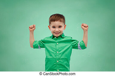 happy smiling little boy with raised hand - childhood,...