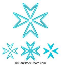 Cyan line company logo design set
