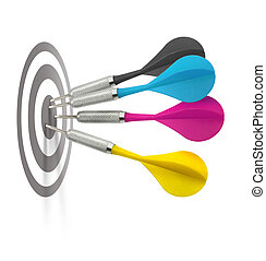 Cmyk darts hitting target - Foud cmyk color darts hitting...