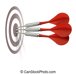 Three red darts hitting target center bulleye isolated