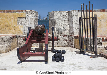 Cannon at Fort - Ancient cannon at Fort San Sebastian del...