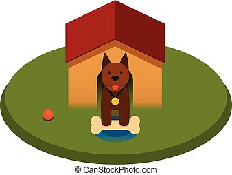 brown puppy dog with bone in the doghouse - flat cartoon