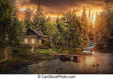 Forester's Cabin by the river in the forest...