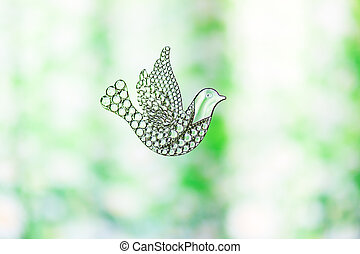 Souvenir glass dove, symbol of peace and spring.