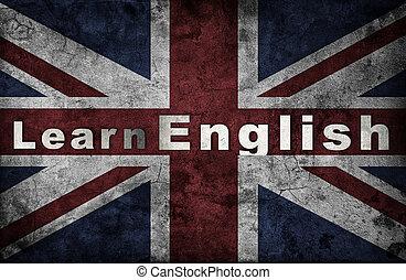 Learning english concept Grunge UK national flag
