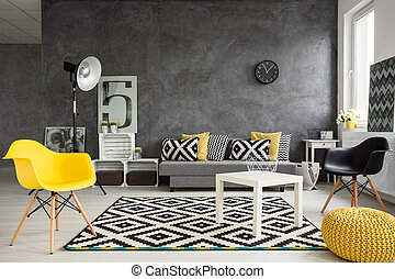 Stylish home place for relax - Grey living room with sofa,...