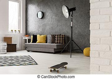 vida, estilo,  hipster, habitación, gris