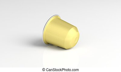 Golden coffee capsule, isolated on white background.