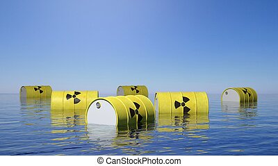 Yellow barrels for radioactive biohazard waste floating on...