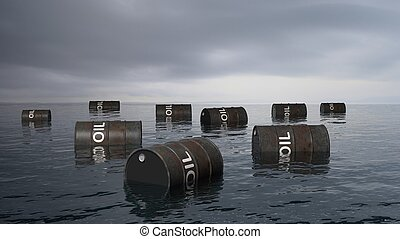 3D black oil drums floating on sea surface, with stormy sky