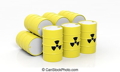Yellow barrels for radioactive biohazard waste, isolated on...