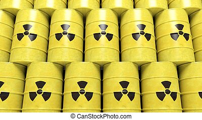 Stacks of yellow barrels for radioactive biohazard waste