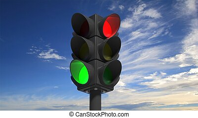 Traffic lights on green and red, with blue sky background