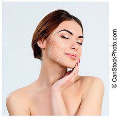 Young female with clean fresh skin - The young female with...