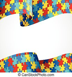 Autism Awareness - Colorful puzzle flag as the symbol for...
