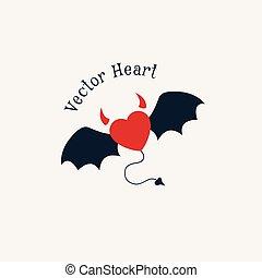 Evil Horned Heart - Evil horned heart emblem. Vector logo...