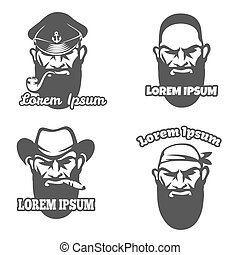 Caucasian face logo element. Pirate and gangster logo face,...