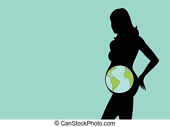 Pregnant - Silhouette illustration of a pregnant female...