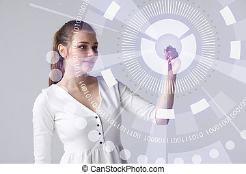 Future technology. Woman working with futuristic interface -...