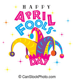Happy April Fools Day on a white isolated background