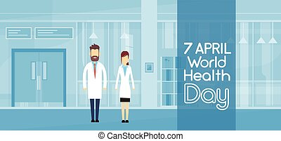 Medical Doctor Couple Modern Hospital Health Day...