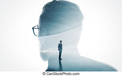 Photo of modern bearded banker wearing glass isolated white....