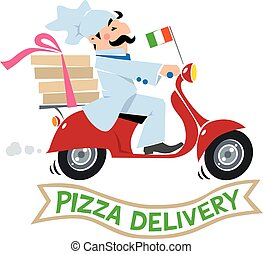 Funny pizza chef on scooter. Pizza delivery logo - Emblem or...