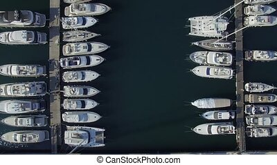 Aerial view of Porto Montenegro. Tivat city.