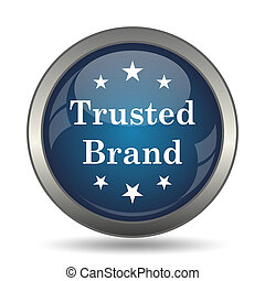 Trusted brand icon. Internet button on white background.