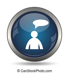 Comments icon - man with bubble - Comments icon. Internet...