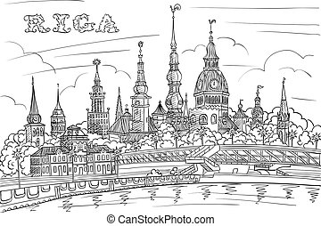 Old Town and River Daugava, Riga, Latvia - Vector Black and...