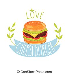 Cheeseburger vector on white background - Cheeseburger...