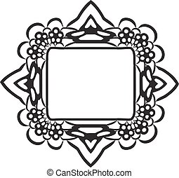 black lace frame - Vintage black lace frame isolated on...
