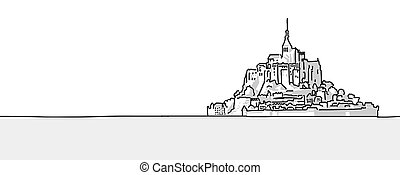 Mount St Michel Hand drawn sketch Vector Outline and Shading...