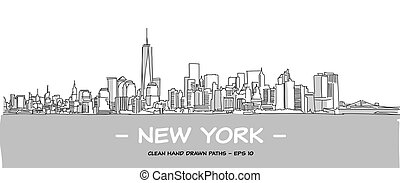 New York City Clean Hand Drawn Vector Illustration with Two...