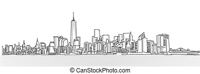 New York City Panorama Skyline, Free Hand Sketch, Vector...