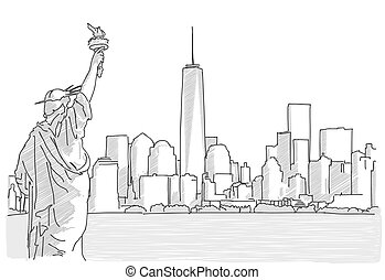 Free hand sketch of New York City Skyline with Statue of...