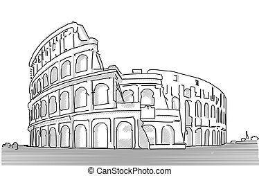 Rome Colosseum Clean Hand Dranw Sketch, Vector Outline...
