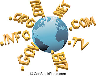 World top level URL internet WWW domain names circle Earth
