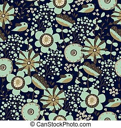 Navy blue seamless floral pattern Vector illustration