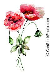 Stylized Poppy flowers