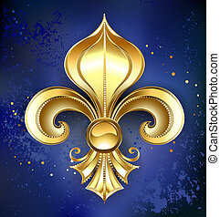 Gold Fleur-De-Lis on a Blue Background